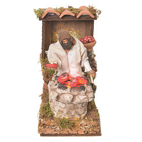 Shepherd with meat, 8cm animated nativity with fire LED s1