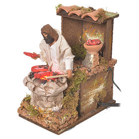 Shepherd with meat, 8cm animated nativity with fire LED s3