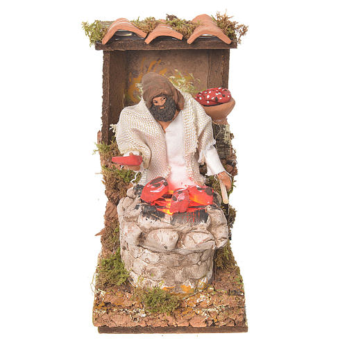 Shepherd with meat, 8cm animated nativity with fire LED 1