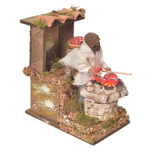 Shepherd with meat, 8cm animated nativity with fire LED 2