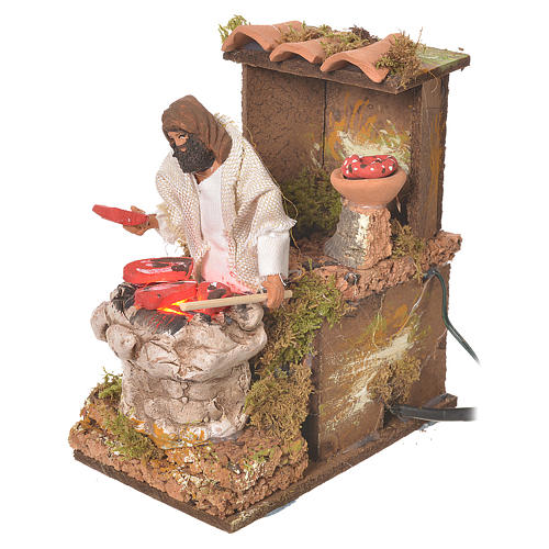 Shepherd with meat, 8cm animated nativity with fire LED 3