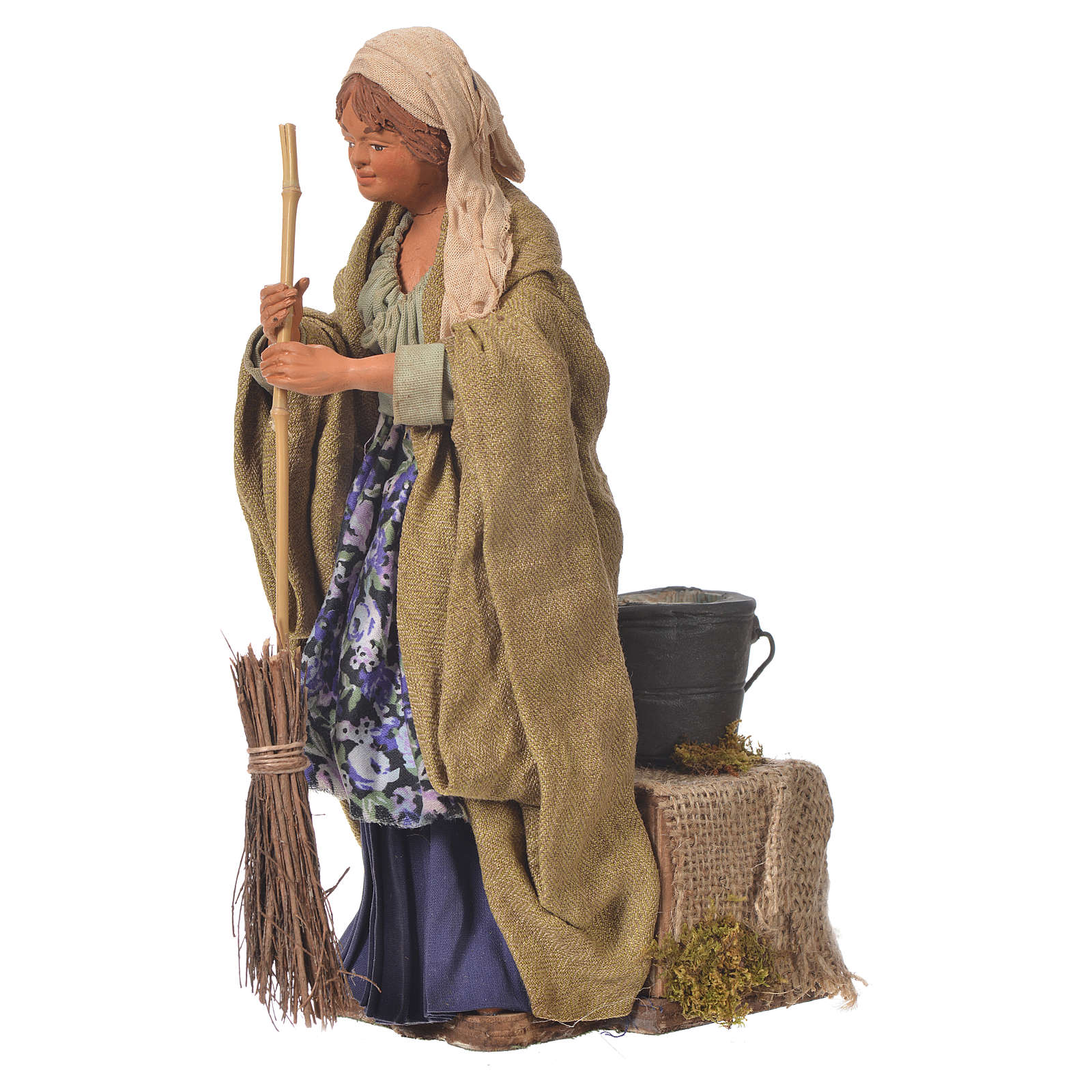 Woman sweeping, 24cm Animated Neapolitan nativity 4