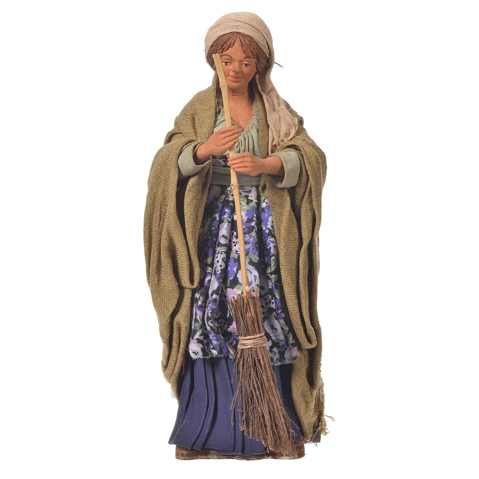 Femme qui balaie 24 cm mouvement crèche Naples 4