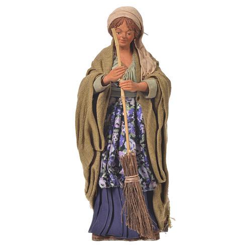 Femme qui balaie 24 cm mouvement crèche Naples 1
