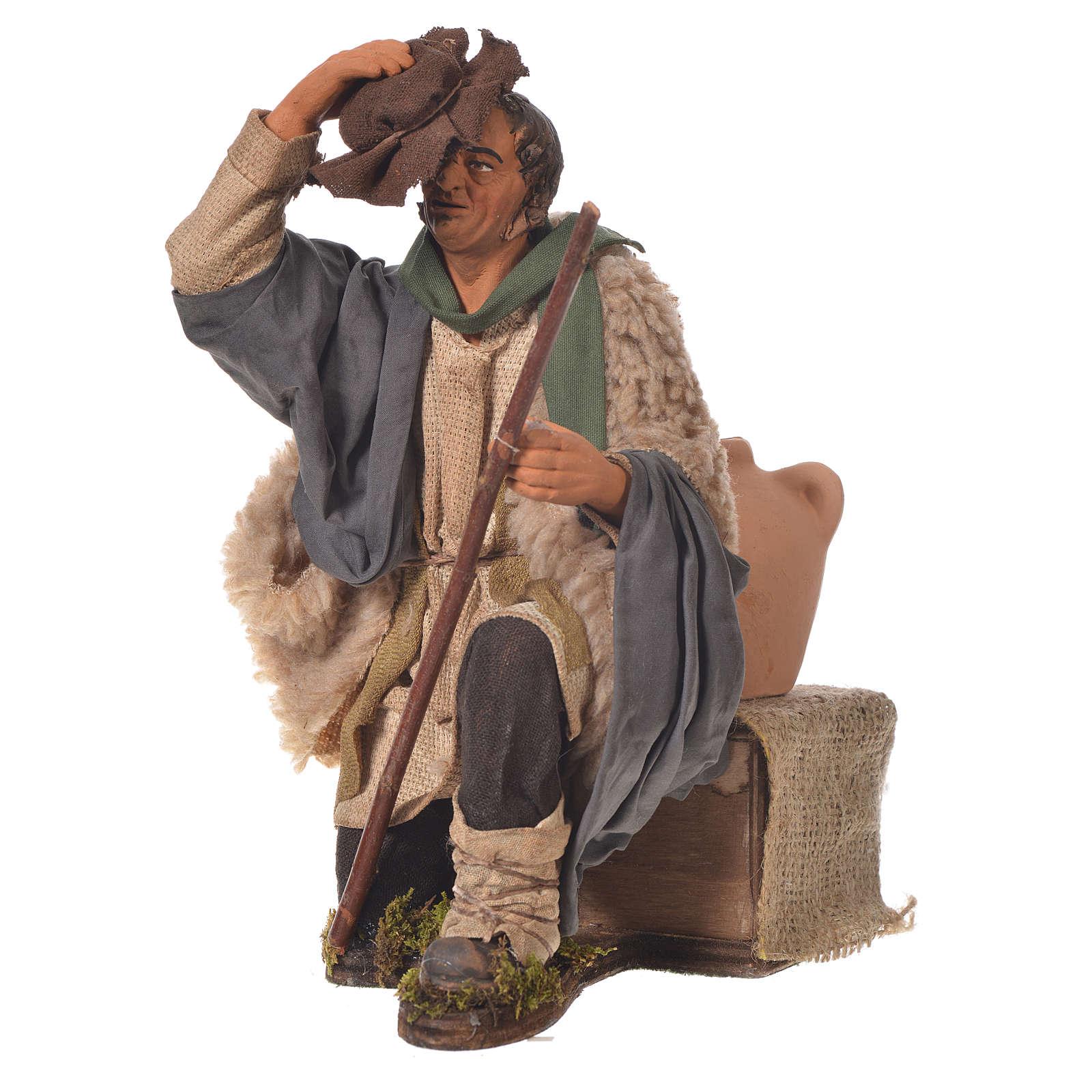 Homme qui retire son chapeau 30 cm mouvement crèche Naples 4