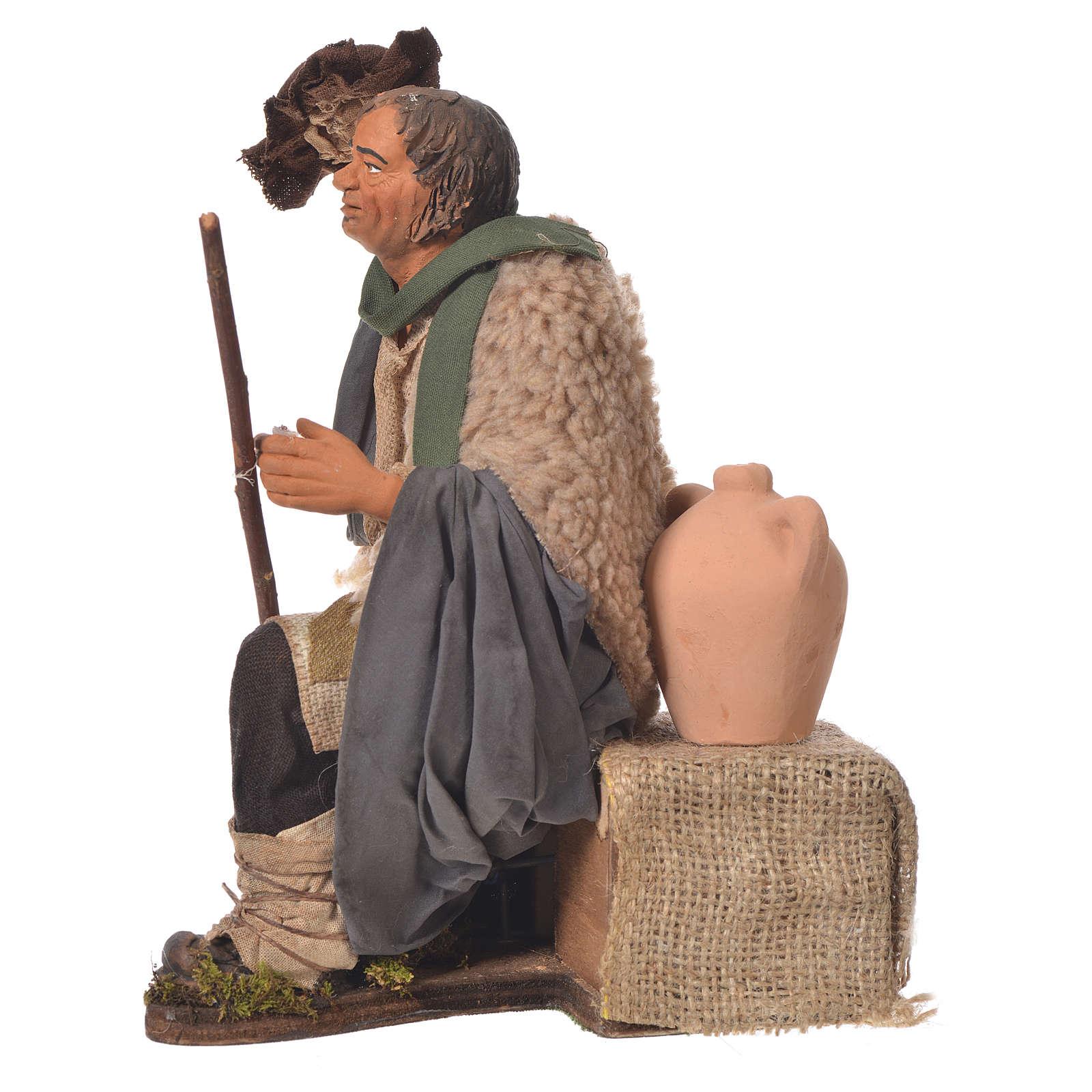 Man taking hat off, 30cm Animated Neapolitan nativity 4