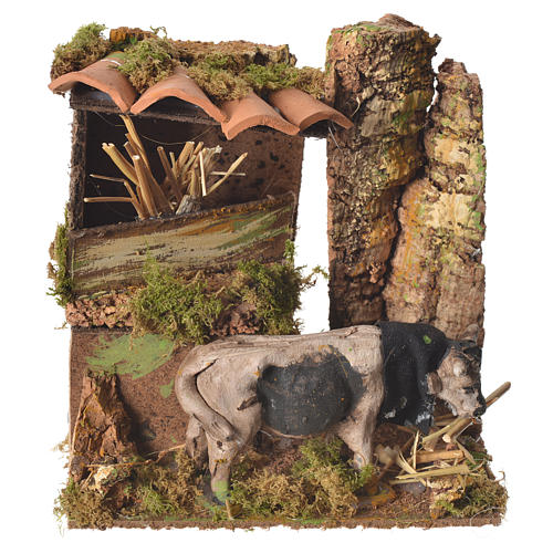 Animated eating ox, for nativities measuring 10cm 1