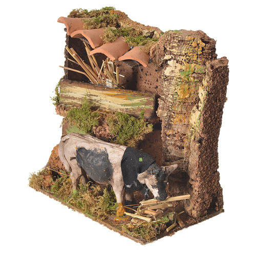 Animated eating ox, for nativities measuring 10cm 2