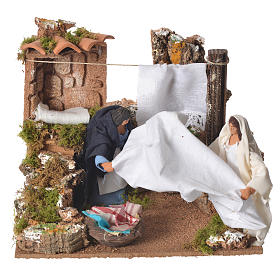 Animated Nativity Scenes: Animated woman with blankets, 12cm