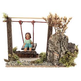 Movimento menina no balanço para presépio com figuras altura média 10 cm s1