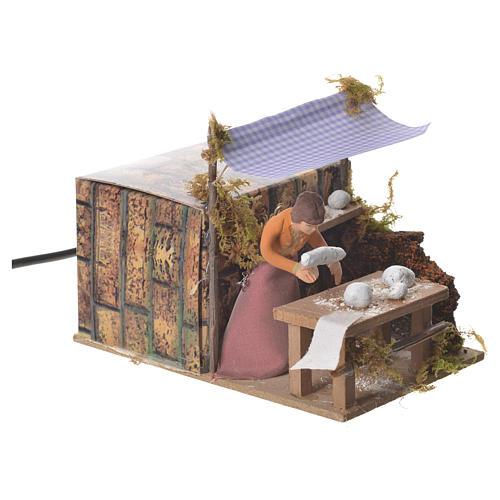 Woman kneading bread, 7cm animated nativity 6
