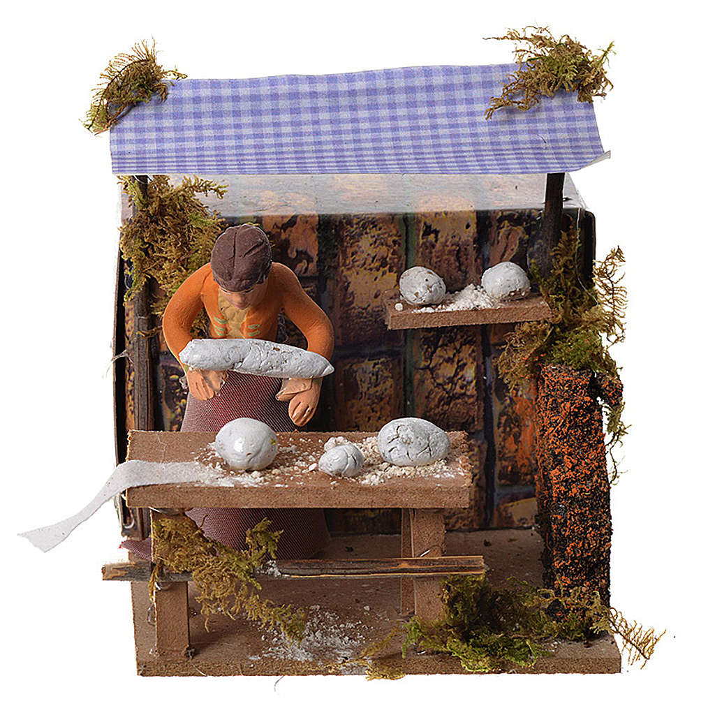 Woman kneading bread, 7cm animated nativity 3