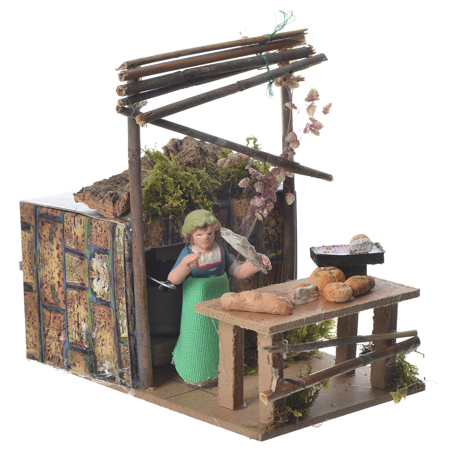Vendeur de pain 7 cm mouvement crèche 3