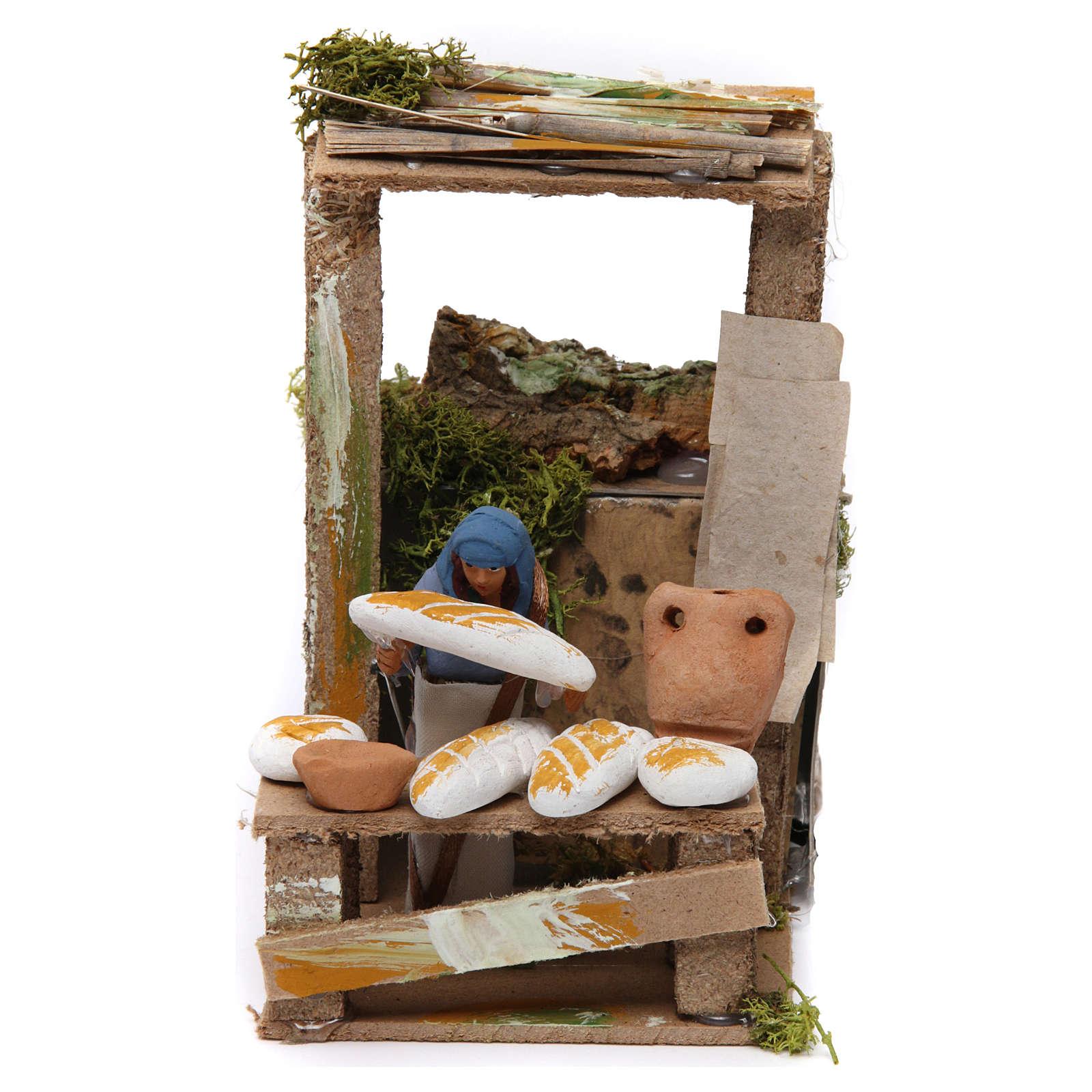 Venditore di pane 7 cm movimento presepe 3