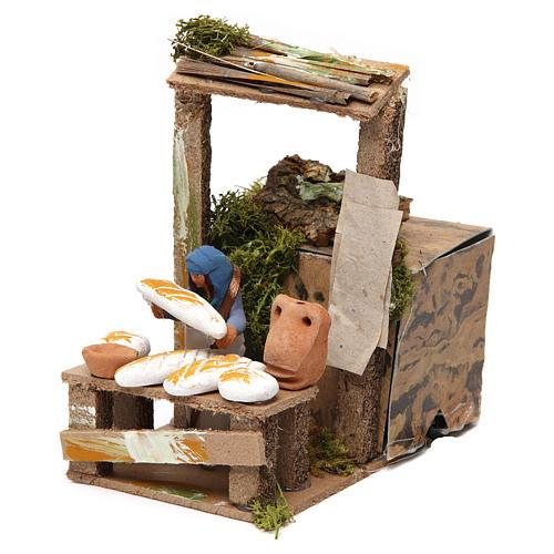 Vendedor de pão movimento para presépio com figuras altura média 7 cm 2