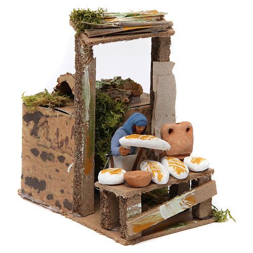 Vendedor de pão movimento para presépio com figuras altura média 7 cm 3