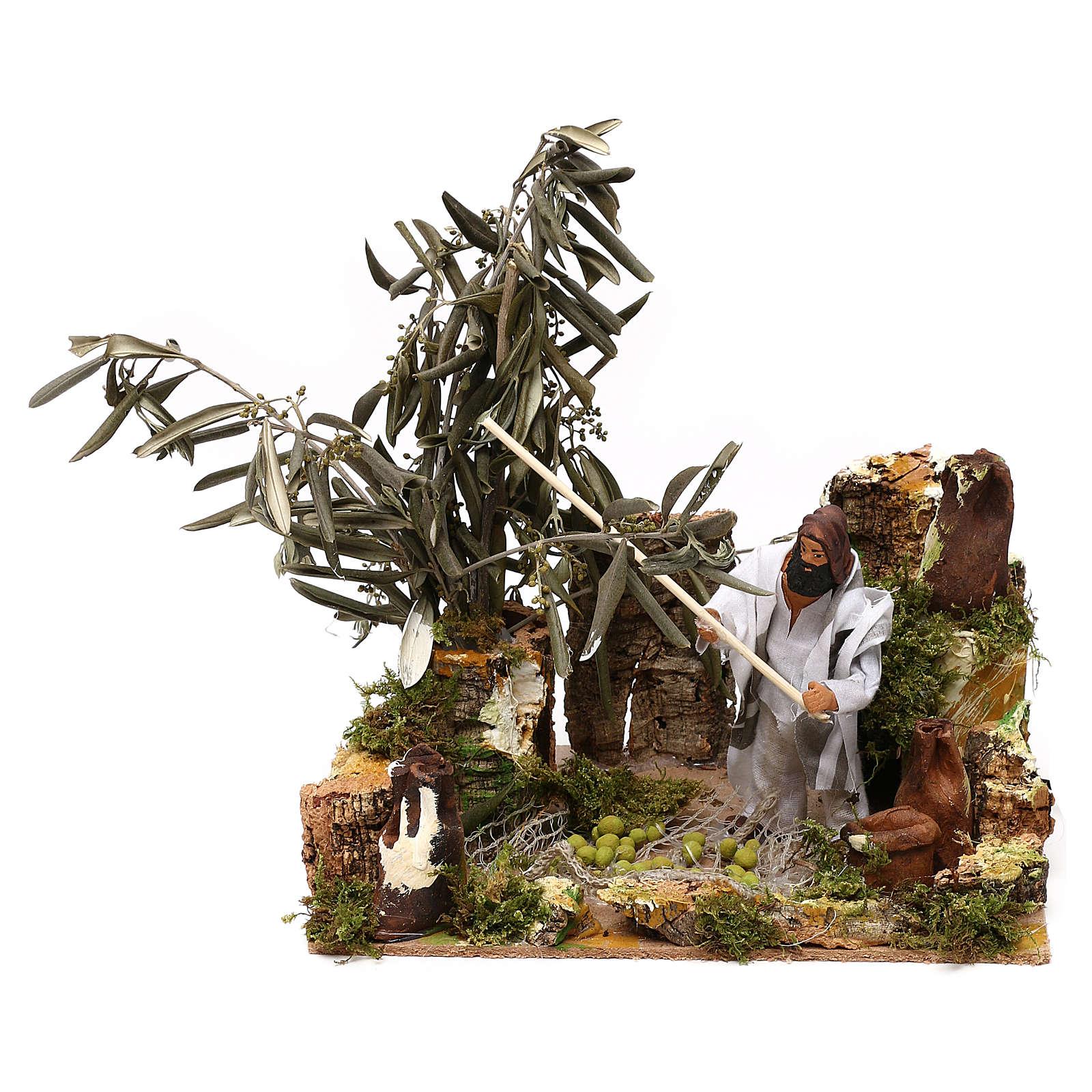 Homem na apanha da azeitona movimento presépio de Natal figuras altura média 12 cm 3