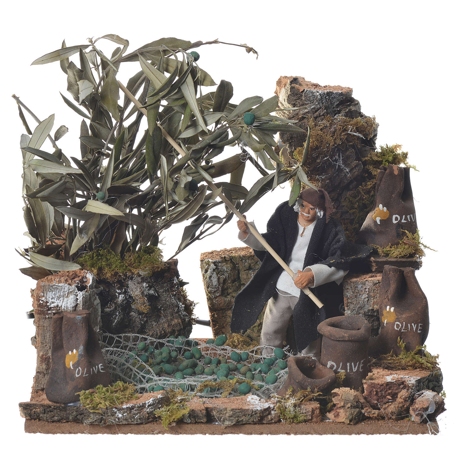 Man harvesting olives, 12cm animated nativity 3