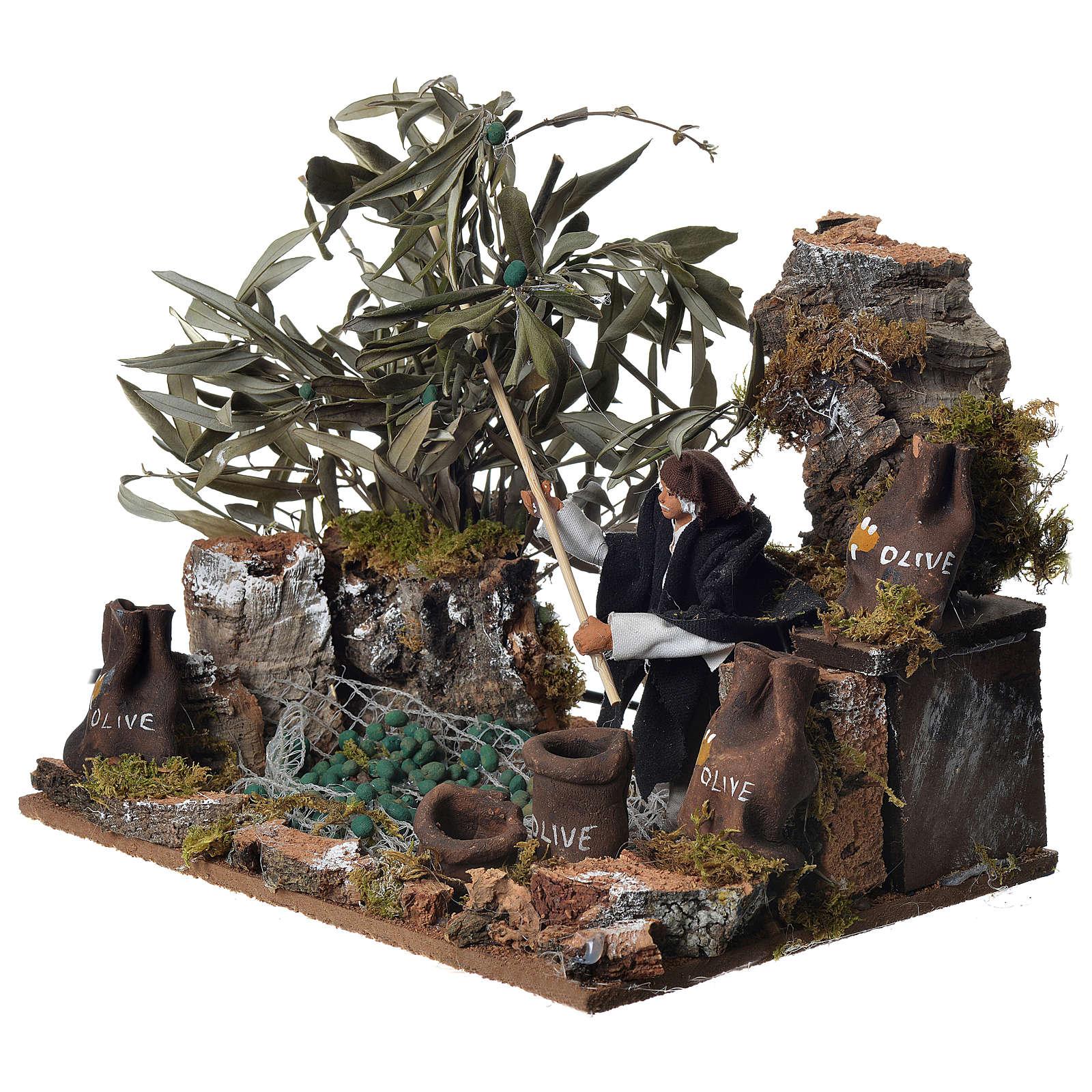 Man harvesting olives, 12cm animated nativity 3