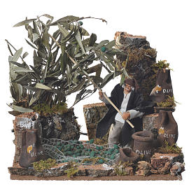 Man harvesting olives, 12cm animated nativity s1