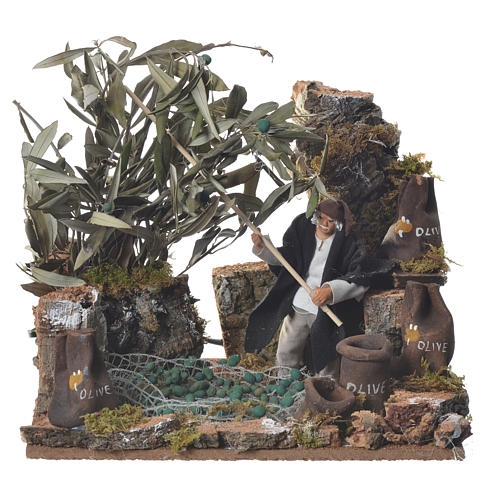 Man harvesting olives, 12cm animated nativity 1