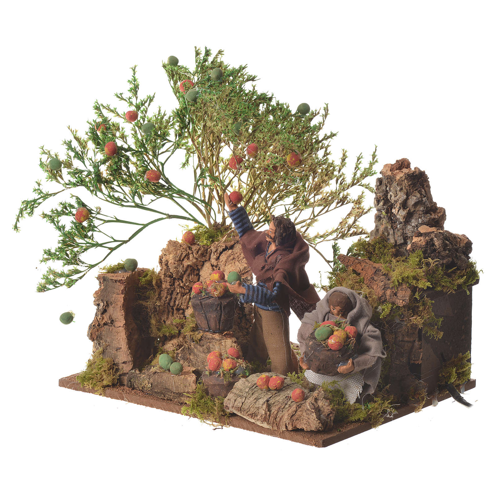 Man picking apples, 12cm animated nativity 3