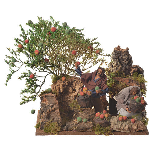 Man picking apples, 12cm animated nativity 1