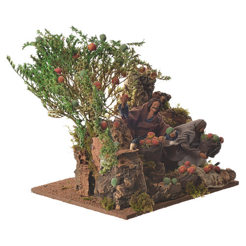 Man picking apples, 12cm animated nativity 2