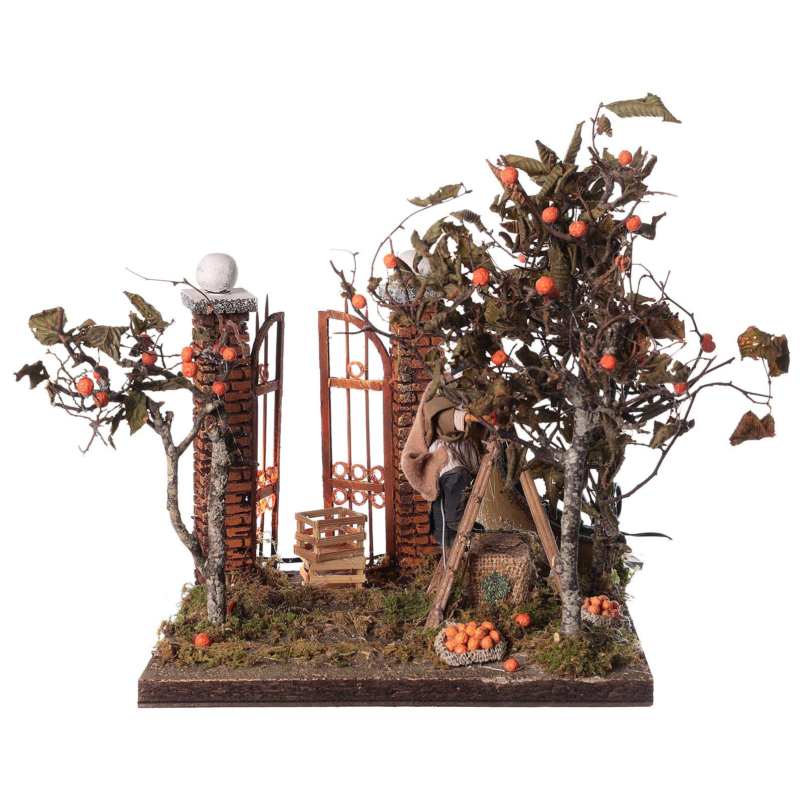 Orange picking animated scene, Neapolitan Nativity 12cm 4