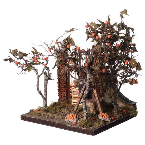 Orange picking animated scene, Neapolitan Nativity 12cm 3