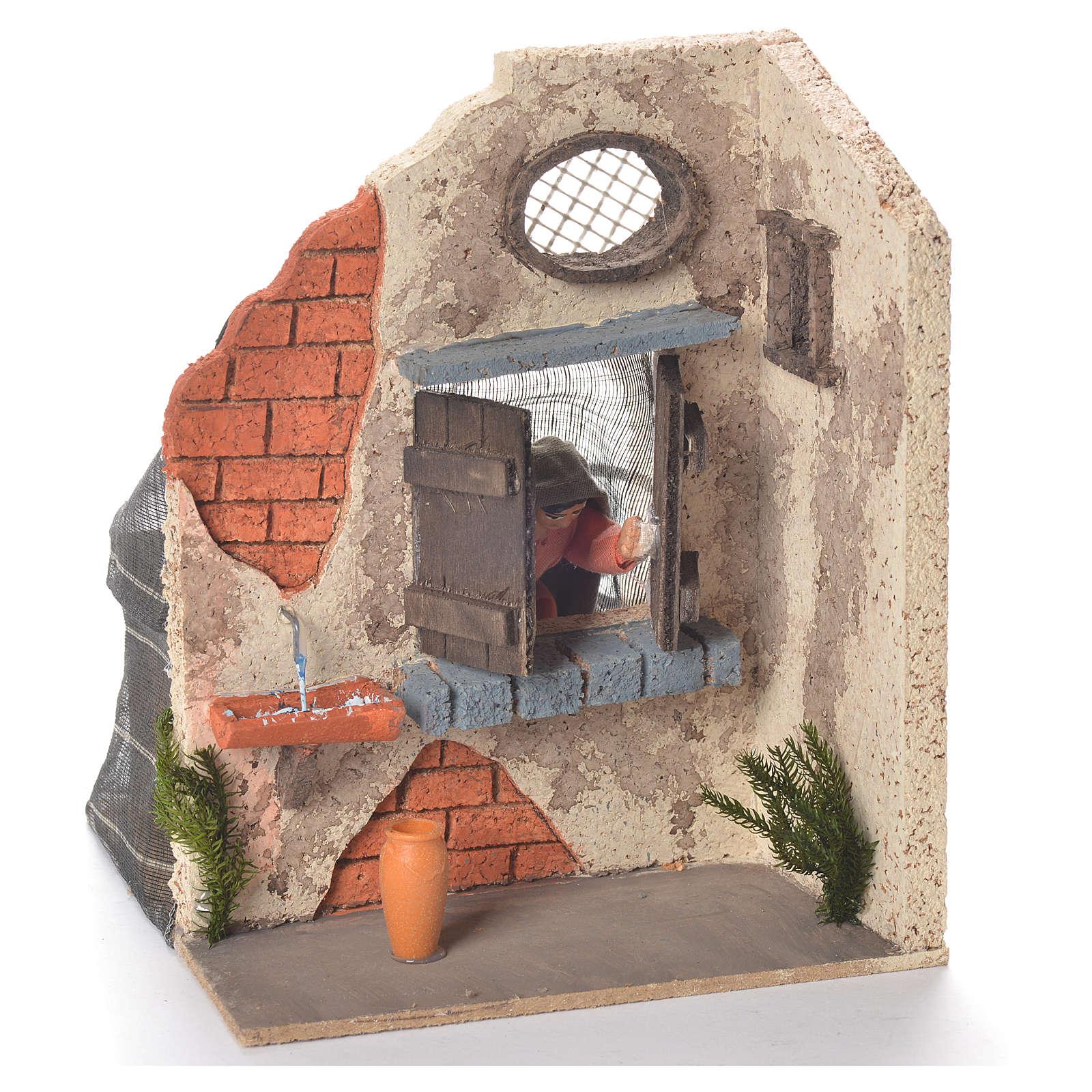 Signora alla finestra 10 cm movimento presepe Napoli 4
