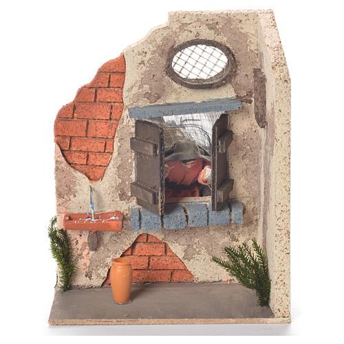 Signora alla finestra 10 cm movimento presepe Napoli 1
