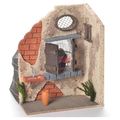 Signora alla finestra 10 cm movimento presepe Napoli 2
