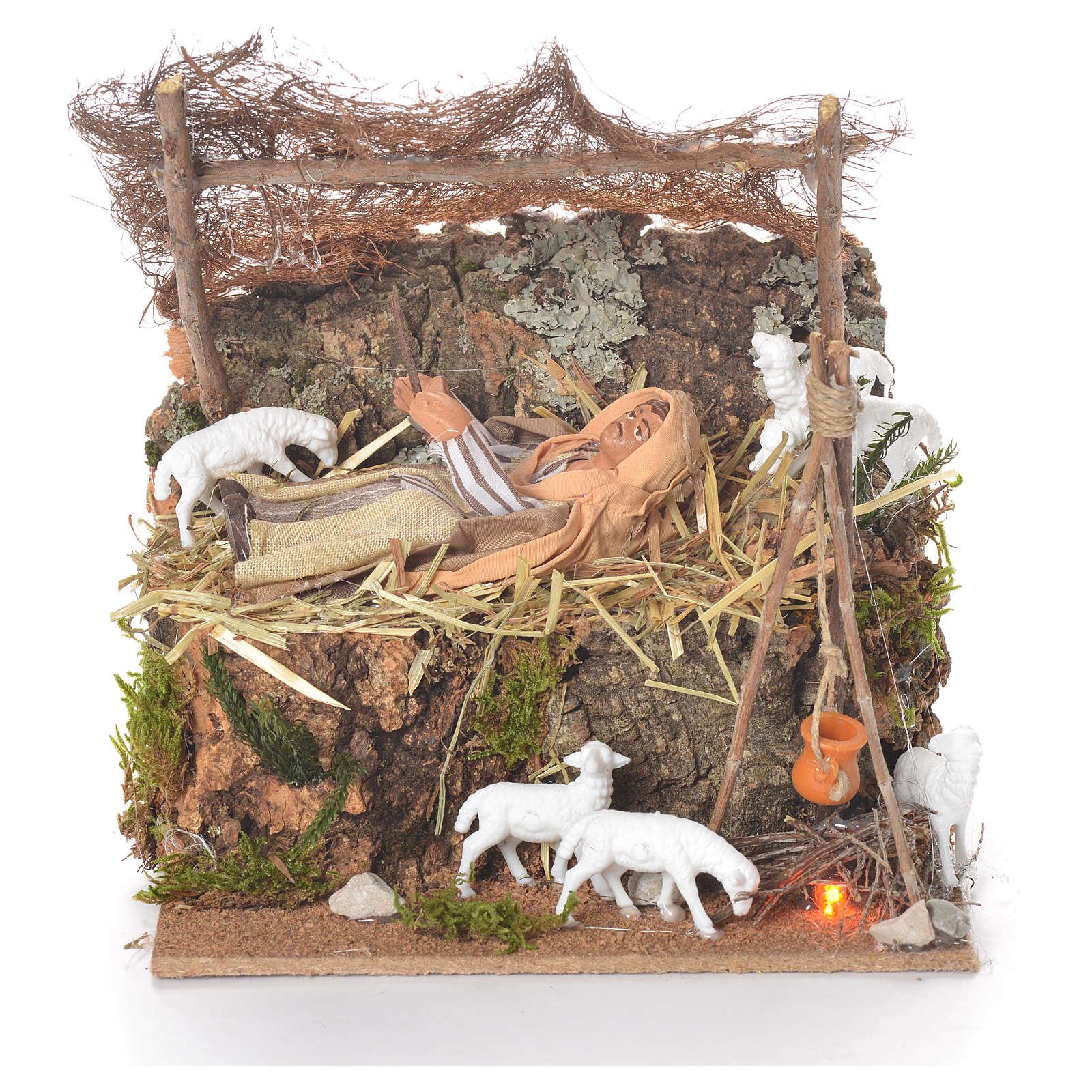 Animated man sleeping 10cm Neapolitan Nativity 4