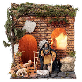 Animated beggar 10cm Neapolitan Nativity s1