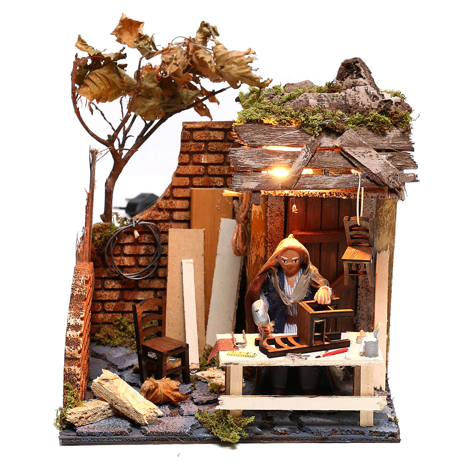 Animated man fixing chairs 10cm Neapolitan Nativity 4
