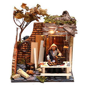 Animated man fixing chairs 10cm Neapolitan Nativity s1