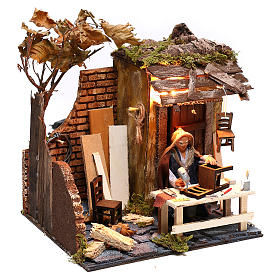 Animated man fixing chairs 10cm Neapolitan Nativity s3
