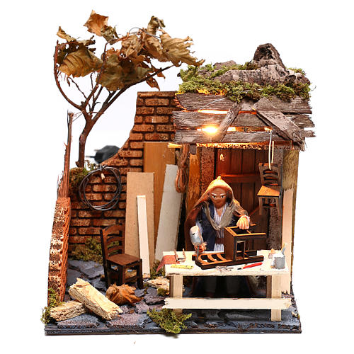 Animated man fixing chairs 10cm Neapolitan Nativity 1
