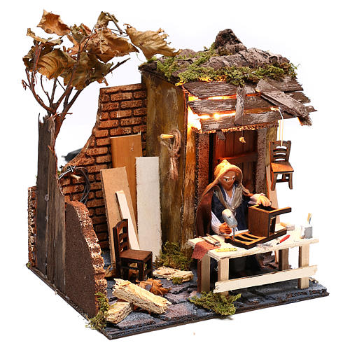 Animated man fixing chairs 10cm Neapolitan Nativity 3