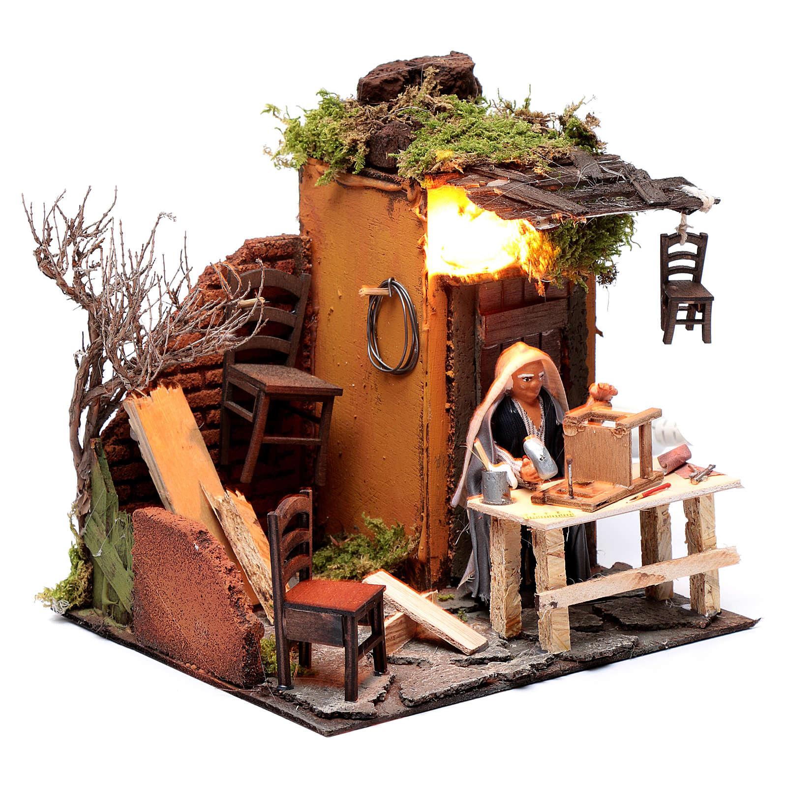 Animated man fixing chairs 10cm Neapolitan Nativity 4