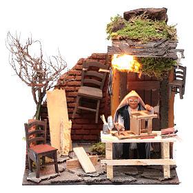Animated man fixing chairs 10cm Neapolitan Nativity s1