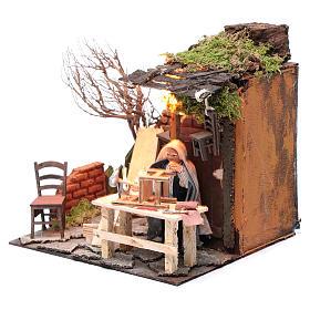 Animated man fixing chairs 10cm Neapolitan Nativity s2