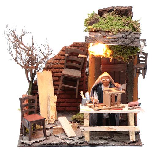 Animated man fixing chairs 10cm Neapolitan Nativity 1