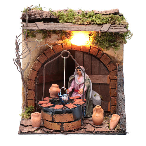 Woman at the well 10cm Neapolitan Nativity, animated figurine 1