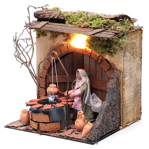 Woman at the well 10cm Neapolitan Nativity, animated figurine 2