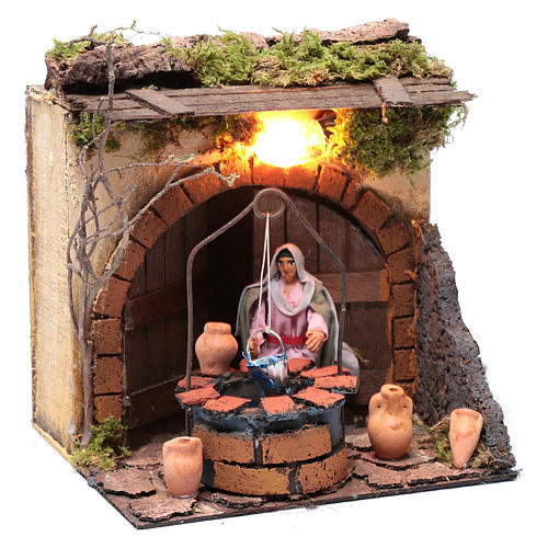 Woman at the well 10cm Neapolitan Nativity, animated figurine 3