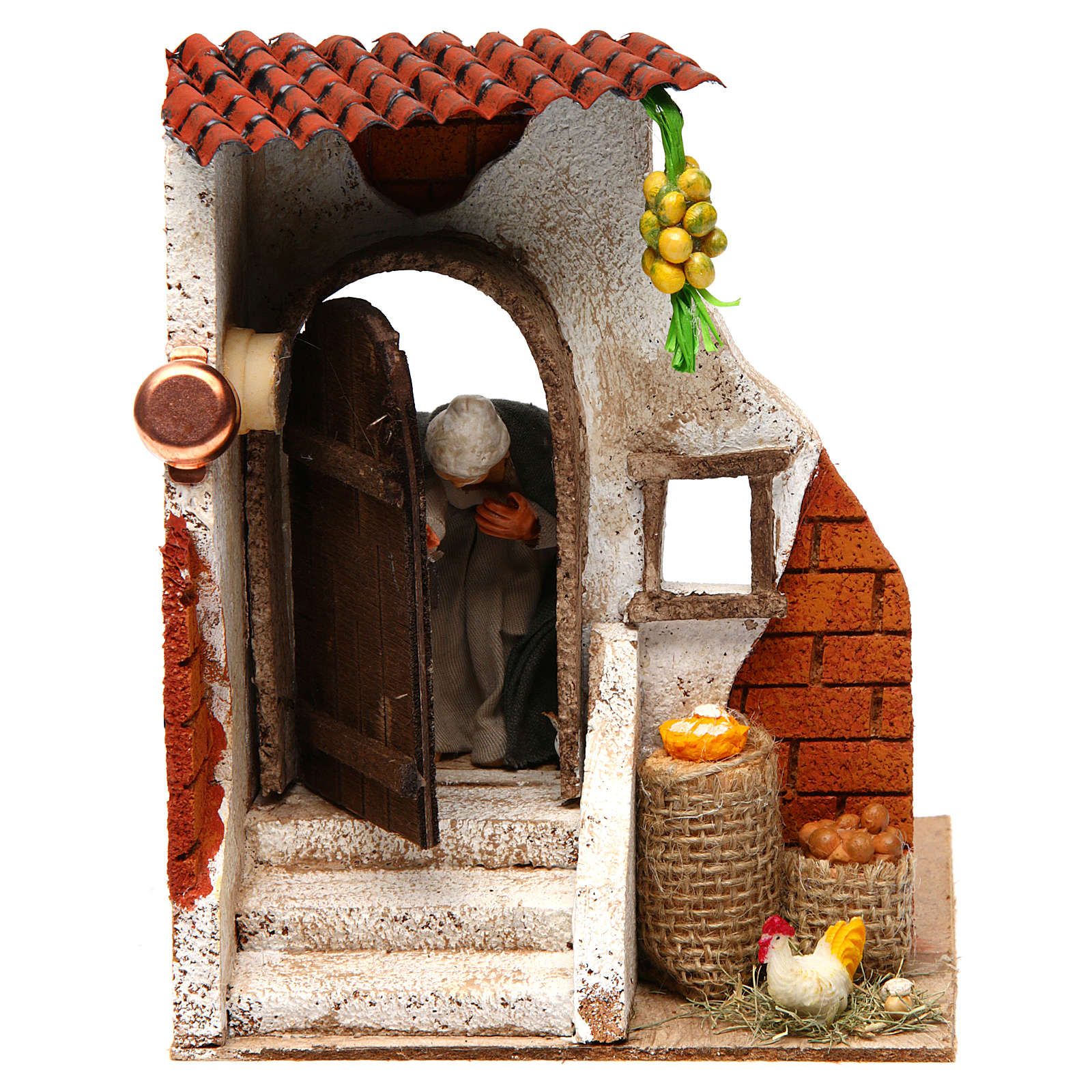 Woman at the door 10cm Neapolitan Nativity 4