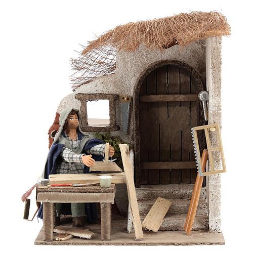Animated carpenter 10cm Neapolitan Nativity 1