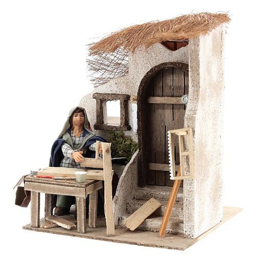 Animated carpenter 10cm Neapolitan Nativity 3
